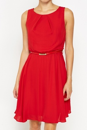 Red Belted Swing Dress