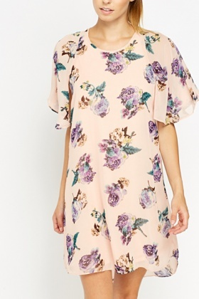 Frill Sleeve Floral Shft Dress