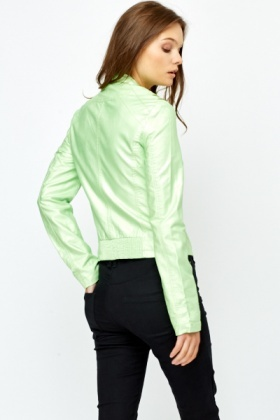 Green Metallic Biker Jacket
