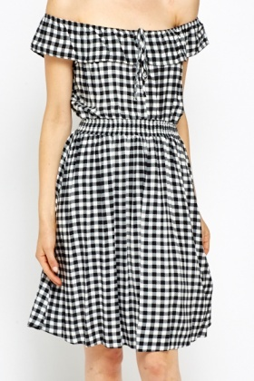 Off Shoulder Checked Dress
