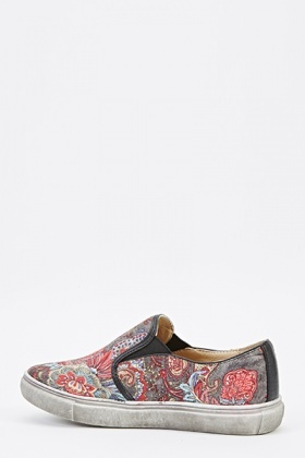 Paisley Print Slip-On Shoes