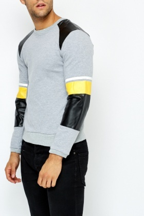 Perforated PU Insert Sweatshirt