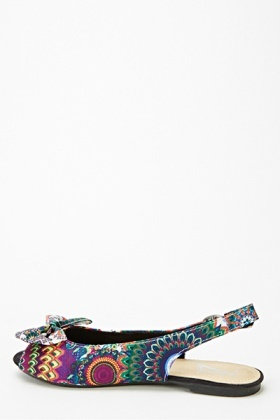 Printed Bow Front Sling Back