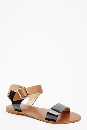 Metallic Wide Strap Sandals