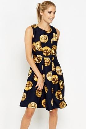 Atractivos vestidos femeninos con monedas estampadas Navy-coin-print-dress-15095-1