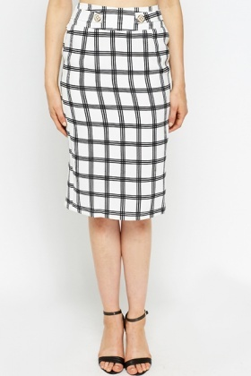 Pleated Back Grid Check Skirt