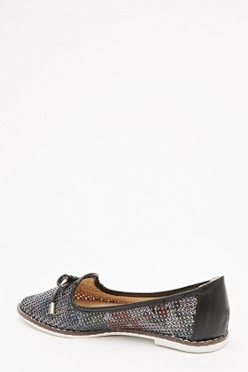 Printed Woven Pointed Shoes