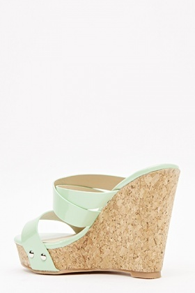 PU Strappy Cork Effect Wedges