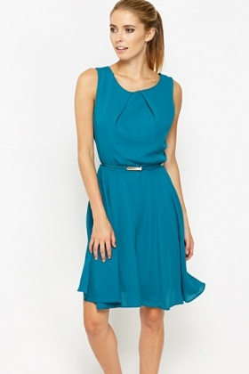 Turquoise Belted Swing Dress