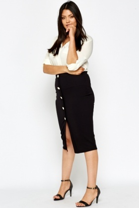 Black Button Up Midi Skirt