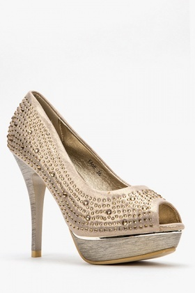 Encrusted Open Toe Pump Heels
