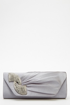 Encrusted Pleated Sateen Clutch Bag