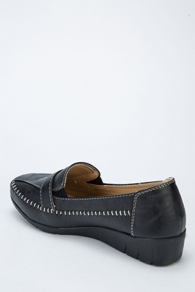 Faux Leather Front Buckle Slip On Flats
