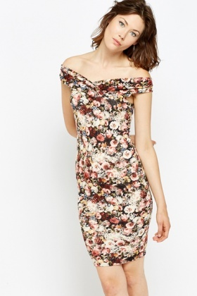Floral Bardot Bodycon Dress