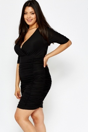 Plunge Neck Black Ruched Dress