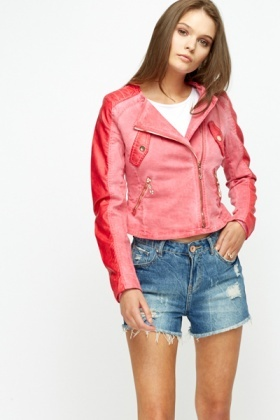 Quilted Shoulder Biker Jacket