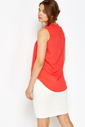 Red Button Up Shell Top