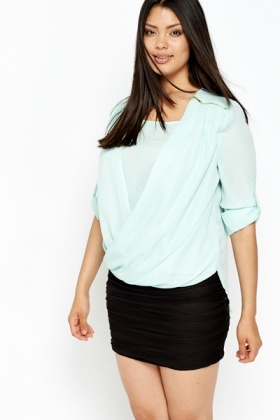 Zip Detail Wrap Blouse