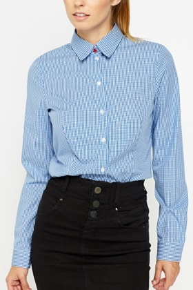 Button Up Blue Checked Shirt
