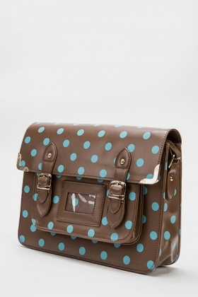 Khaki Polka Dot Satchel Bag