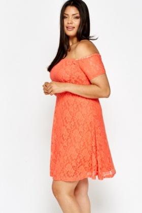 Off Shoulder Coral Lace Dress