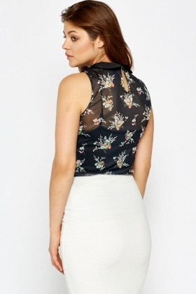 Sleeveless Collared Floral Top