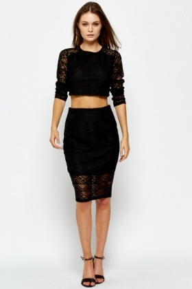 Aztec Mesh Border Black Skirt