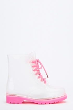 Fuchsia Transparent Wellie Boots
