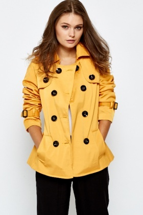 Mustard Button Up Trench Coat