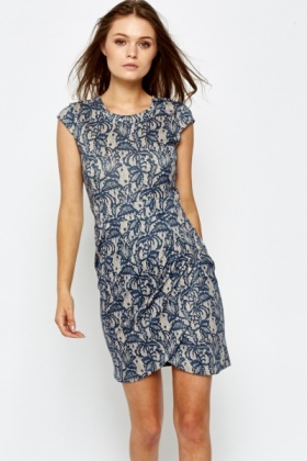 Navy Lace Overlay Bodycon Dress