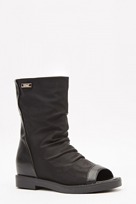 Open Toe Black Boots