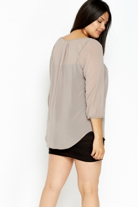 Sheer Khaki Blouse