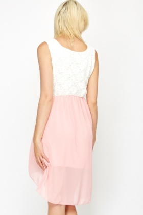 Encrusted Waist Front Pink Contrast Dress