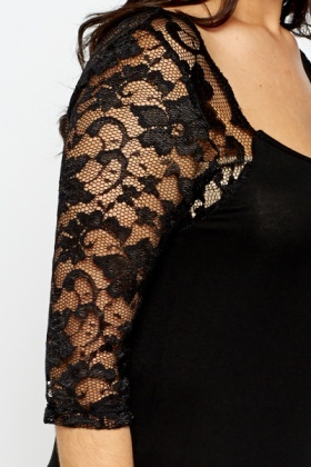 Lace Sleeve Scoop Neck Top