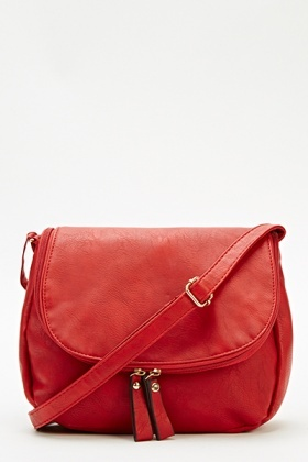 Red Faux Leather Crossbody Bag