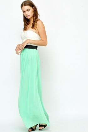 Two Tone Lace Bodice Maxi Dress