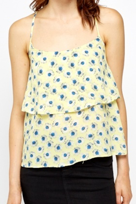 Yellow Floral Layered Swing Top