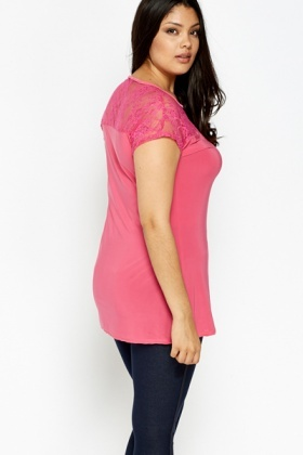 Fuchsia Lace Yoke Top