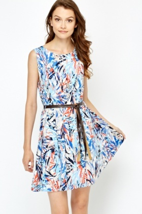 Graphic Tropical Swing Dress