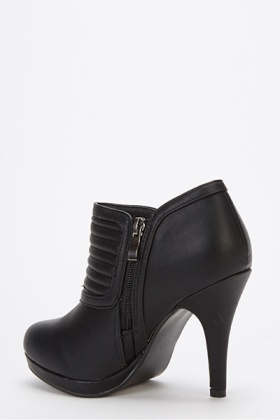 Padded Front Double Zip Heeled Boots