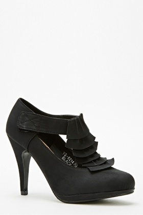 Ruffle Mid Heel Shoes