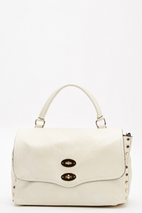 Faux Leather Studded Handbag