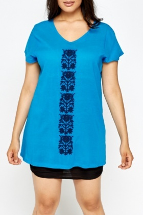 Embroidered Floral Royal Blue Top