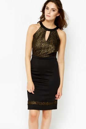 High Neck Gold Contrast Dress