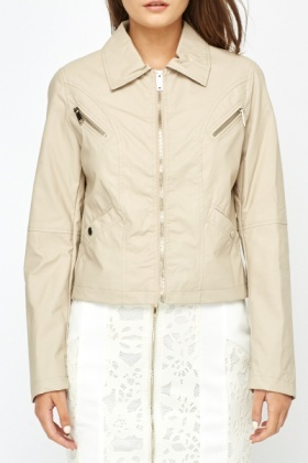 Zip Detail Beige Biker Jacket