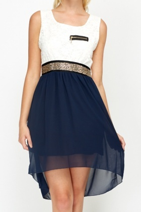 Navy Contrast Glitter Waist Dress