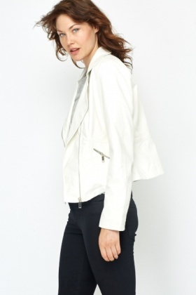 Faux Leather White Biker Jacket