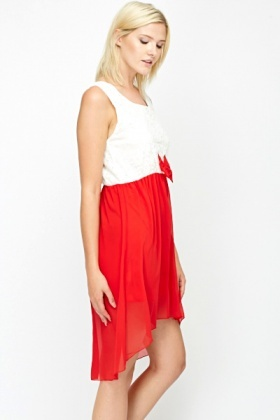 Red Contrast Bow Front Dress
