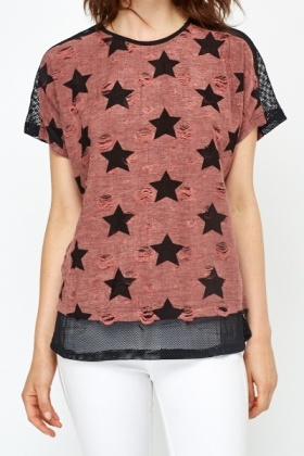 Ripped Star Print T-Shirt