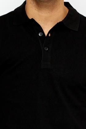 Black Button Up T-Shirt - Just £5